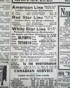 Historic Newspaper advertising tickets for the Titanic's return trip to London.