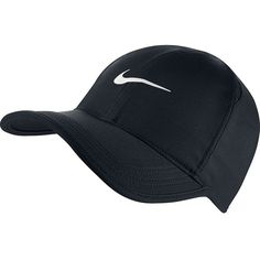 Nike Featherlight Tennis Hat Black White Size One Size - The Nike  Featherlight Tennis Hat is made with sweat-wicking fabric and mesh side  panels for ... dd512ba703e0