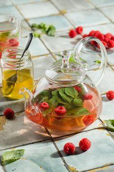 Hot raspberry tea in transparent teapot on a stone table. Fresh by Angelina Zinovieva / 500px