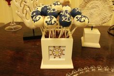 """Photo 1 of Nautical Baby Boy / Baby welcoming party """"Elias Welcome party """" Nautical Cake Pops, Nautical Party, Nautical Wedding, Vintage Nautical, Camo Wedding, Ocean Party, Beach Party, Cake Pop Displays, Nautical Bridal Showers"""