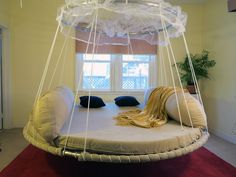 Floating Bed with upper ring design for additional room, back support for sofa cushion use.