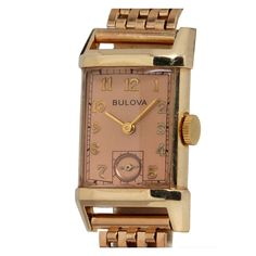 Bulova Yellow Gold Rectangular Diress Model Wristwatch circa 1940s | From a unique collection of vintage wrist watches at https://www.1stdibs.com/jewelry/watches/wrist-watches/