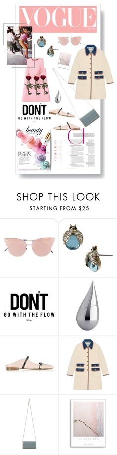 """""""DON'T go with the flow"""" by lillysinclair ❤ liked on Polyvore featuring Prada, So.Ya, Betsey Johnson, La Prairie, Malone Souliers, Gucci and Valentino"""