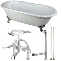 Aqua Eden Classic Double Ended 5.5 ft. Cast Iron Clawfoot Bathtub in White and Faucet Combo in Chrome (Grey)