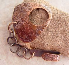 """Etched Copper Hook Clasp, Bubble Dots Pattern, 1.25"""" x 1.25"""", Triangular Shaped"""
