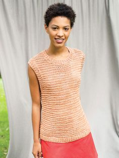Easy to make and easy to wear, this garter stitch tank is edged with simple ribbing. Free pattern from Berroco