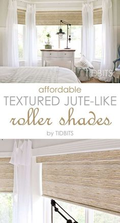 Affordable textured jute-like roller shades - as seen in TIDBITS master bedroom reveal. house window coverings Affordable Textured Jute-like Roller Shades - Tidbits Bedroom Blinds, Bedroom Windows, Living Room Windows, Living Room Blinds And Curtains, Bay Window Bedroom, Cortinas Rollers, Br House, House Wall, Muebles Living