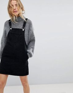 38d25519a37 overall dress over sweater Black Dungaree Dress