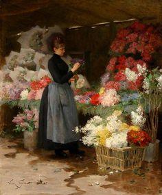 """The Flower Market"" by Victor Gabriel Gilbert (1847 - 1933)."