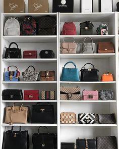 Bag Storage Closet Handbags Ideas For 2019 Handbag Display, Bag Closet, Sacs Design, Handbag Storage, Luxury Closet, Purse Organization, Closet Designs, Closet Bedroom, Cute Bags