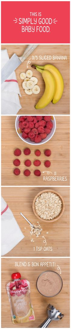 Behind every transparent Happy Baby #ClearlyCrafted pouch there's a tasty recipe we created with care. Our organic Bananas, Raspberries & Oats pouch is made with potassium-rich bananas from Ecuador, sweet raspberries from the Pacific Northwest, and hearty, gluten free whole grain oats from a family farm in Wyoming. See all 12 flavors at…