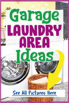 Garage Laundry Area Ideas For a Small Laundry Nook in the Garage - See these pictures of garage washer and dryer laundry areas for your small garage laundry area or laundry nook.  If you want to fit a laundry room space in your garage, these small laundry room pictures and ideas will really help you design and layout your garage laundry area. Small Laundry Area, Laundry Nook, Garage Laundry, Laundry Dryer, Laundry Room Design, Small Garage, Diy Garage, Garage Ideas, Laundry Room Pictures