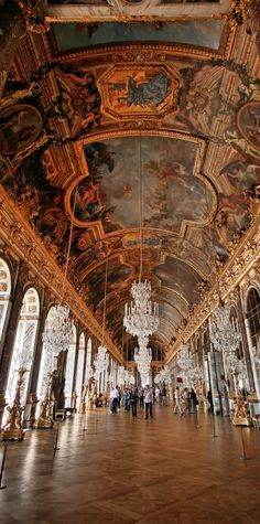 Hall of Mirrors at the Palace of Versailles in France •