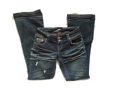 Almost Famous Distressed Low Rise Jeans Size 3 #LYLACS_4U #distresedjeans  #AlmostFamous #Flare