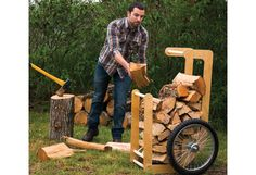Woodworking Patterns Fireside function: Build a firewood cart – Canadian Home Workshop Woodworking Power Tools, Woodworking Projects That Sell, Woodworking Patterns, Woodworking Furniture, Fine Woodworking, Diy Wood Projects, Outdoor Projects, Woodworking Workbench, Popular Woodworking