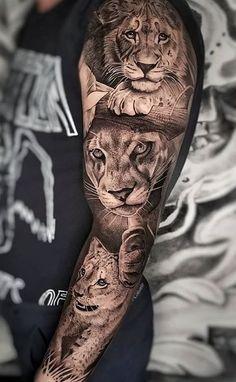 Tattoos for men Tattoo lion family design 20 Ideas Family Sleeve Tattoo, Animal Sleeve Tattoo, Lion Tattoo Sleeves, Arm Sleeve Tattoos, Japanese Sleeve Tattoos, Tattoo Sleeve Designs, Forearm Tattoos, Animal Tattoos, Lion Sleeve