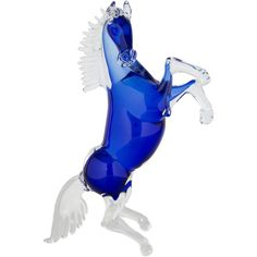 Pre-owned Murano Glass Rearing Horse Sculpture ($475) ❤ liked on Polyvore featuring home, home decor, blue, horse home decor, murano glass horse sculpture, blue home accessories, horse sculptures and murano sculpture