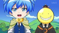 Koro Q. cute Nagisa and koro-sensei Nagisa And Karma, Okuda, Fanart, Dragon Girl, Assasination Classroom, Amai, Hilarious, Funny, Me Me Me Anime