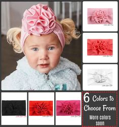 6 colors to choose from & more coming soon. Girls Top Flower Turban Headband for Newborns on up. These headbands will grown with her. Bullet texture fabric SIZE: It is super stretchy and comfy for all ages. One size fit newborn, infant, toddler and big girls. The initial elastic band is 7.5 ... Baby Turban Headband, Newborn Headbands, Girls Coming Home Outfit, Toddler Girl, Baby Girls, Infant Toddler, Baby Bloomers, Babies First Year, Girls Accessories