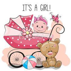 Поздравительная открытка это девочка с коляской и плюшевый медведь — Stock Illustration #105497972