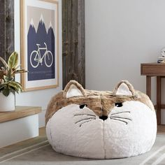 An insanely plump faux-fur beanbag for fox lovers near and far. | 38 Of The Cutest Animal-Themed Products You've Ever Seen