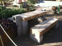 Cinder Block picnic table