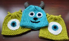 knitted hat pattern, with instructions for crochet embellishments. (sulley horns)