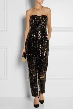 MILLY Leather-trimmed sequined tulle jumpsuit