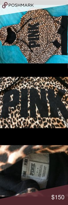 PINK cheetah sweatshirt Offers are always considered! There is some pilling in the inside of the sleeves but I didn't notice it on the outside. Selling because it's too small for me, I would say it actually fits a small unlike most PINK items. Very cute! PINK Victoria's Secret Sweaters
