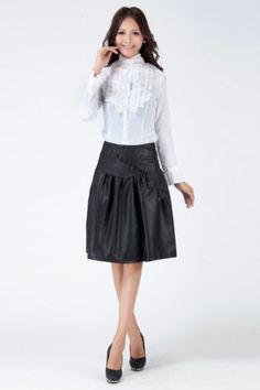 PLUS SIZE High Waist Pleated Faux Leather Slim Skirt TE107 plus1-10x(SZ16-52)