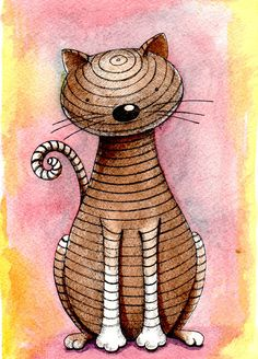 Brown cat with black stripes, pen, ink and watercolor illustration by theinkproject on Etsy