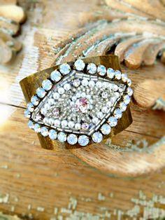 Deco Inspired Cuff Bracelet Rhinestone Cuff by StunningByDesign