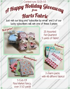 Holiday fabric giveaway! Check out our blog for details!
