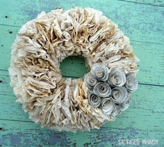 Coffee Filter Craft Ideas | DIY Wreath by DIY Ready at http://diyready.com/uses-for-coffee-filters-diy-projects-and-ideas