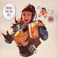 I'm so excited for Brigitte! I actually main support and tank, so a hybrid sounds like so much fun What do you guys think of the new hero? Overwatch - Drinks with Brigitte Overwatch Comic, Overwatch Tattoo, Overwatch Memes, Overwatch Fan Art, Paladins Overwatch, Geeks, Brigitte Overwatch, Brigitte Lindholm, Character Art