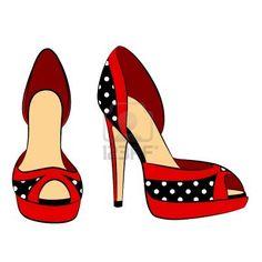 hermoso par de zapatos con tacón de vectores Foto de archivo