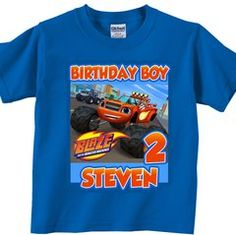 Custom Blaze and the Monster Machines Birthday Party Shirt, more personalized… Birthday Boy Shirts, Baby Boy Birthday, 6th Birthday Parties, 4th Birthday, Birthday Ideas, Blaze And The Monster Machines Party, Monster Truck Birthday, Monster Trucks, Birthday Supplies