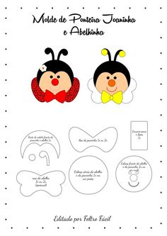 Ponteira em Feltro de abelhinha e joaninha Foam Crafts, Diy And Crafts, Crafts For Kids, Paper Crafts, Easy Drawings For Kids, Drawing For Kids, Pencil Toppers, Felt Patterns, Busy Book