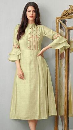 Kurti Sleeves Design, Kurta Neck Design, Sleeves Designs For Dresses, Dress Neck Designs, Blouse Designs, Indian Fashion Dresses, Indian Designer Outfits, Designer Dresses, Salwar Designs