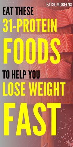 As one of the best weight loss foods, proteins keep you full for longer, reduce appetite and boost your metabolism. Here are your best options Lose Weight Fast Diet, Weight Loss Meals, Best Weight Loss Foods, Weight Loss Drinks, Losing Weight Tips, Easy Weight Loss, How To Lose Weight Fast, Best High Protein Foods, High Protein Recipes