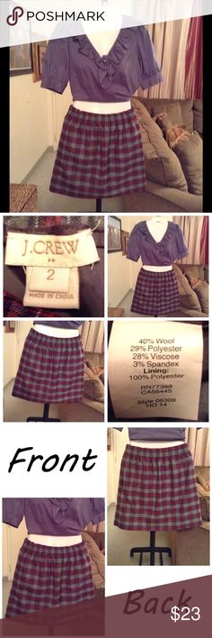 "J.Crew Skirt Skirt is made of 40% wool and 29% Polyester and 28% viscose and 3% spandex. Size 2. Lined. Elastic waist. Colors are gray/blue/white/red.  Length ""17.5. Laying flat ""13.  Good condition. Authentic and from a Smoke And Pet free home. All Offers through the offer button ONLY.  Ask any questions BEFORE purchase. Please use the Offer button, I WILL NOT negotiate in the comment section. Thank You😃 J. Crew Skirts"