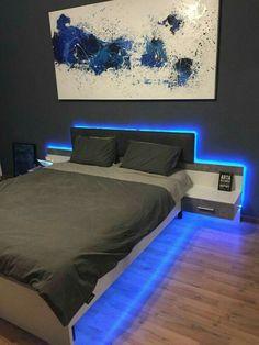Inspirations Mens Bedroom Ideas - All Bedroom Design Bedroom Setup, Boys Bedroom Decor, Room Ideas Bedroom, Bedroom Lamps, Master Bedroom, Diy Bedroom, Led Bedroom Lights, Boy Bedroom Designs, Bedroom Ideas For Teen Boys
