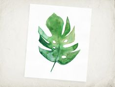 Tropical Leaf Philodendron Watercolor Leaf Archival by LunaReef