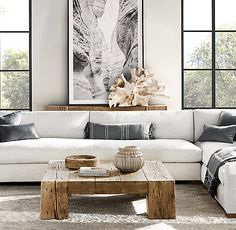 Reclaimed English Beam Rectangular Coffee Table works very well with the large white sectional sofa. The contrast between the modern modular sofa combines with the rustic effect of the wood coffee table Farm House Living Room, Room Design, Minimalist Living Room, Home Decor, Couches Living Room, Living Room Decor Modern, Home Decor Pictures, Coffee Table, Living Room Designs