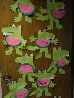 Alligator valentine - heart instead of watermelon...how cute!