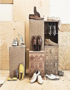 shoe display ... print images to glue to cardboard boxes, or use wrapping/scrapbooking paper
