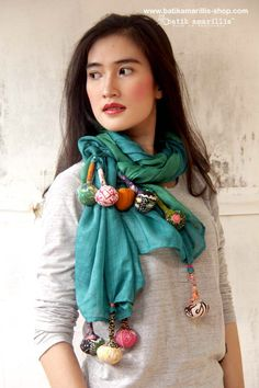 batik amarillis's signature lollies shawl available at Batik Amarillis website www.batikamarilli... Lollies Shawl Made of hand stamped batik on cotton voile, this +/- 250cm flowy & gauzy scrumptious shawl is your best accessory for all year round You can wear & style this quirky shawl into so many ways, just drap, twist & tie around your neck or make it like giant necklace! Cool!