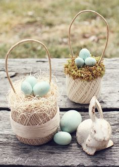 Vintage Thread Ball Egg Basket for Spring and Easter Decor - Easy DIY