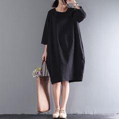 bf3e039988a Women loose linen simple dress round neck dress hedging dress cotton tunic  dress leisure dress plus