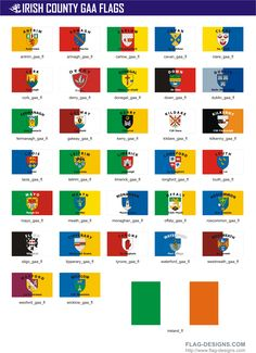 Irish County GAA Flags / GAA Flags of Ireland Counties - vector clipart, vector images All World Flags, County Flags, County Cork Ireland, Celtic Culture, Irish Roots, Irish Blessing, Irish Traditions, Flag Design, Coat Of Arms